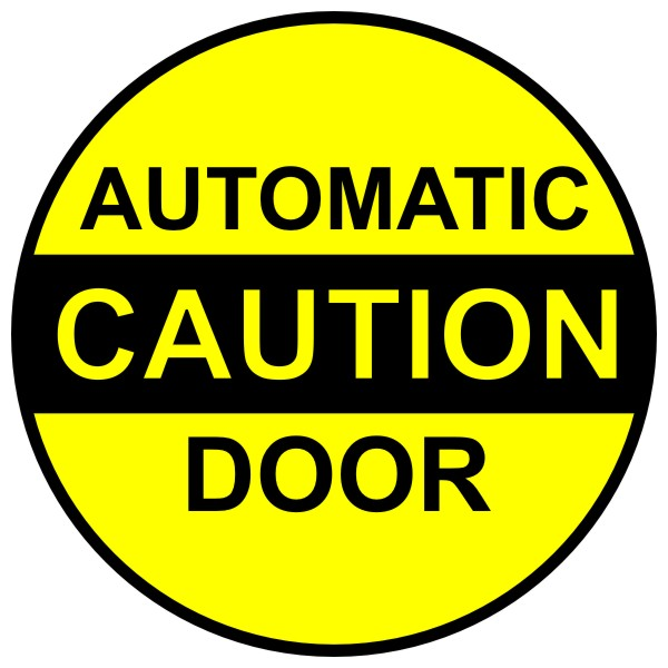 Caution automatic door decal « bc site service