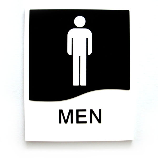 Mens and womens washroom door sign set with braille bc for Men s bathroom accessories