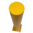 Round Yellow Flat Paint Metal Bollard Top View