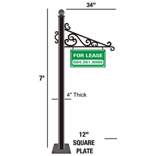 Wrought Iron Sign Holder Above Ground Mounting
