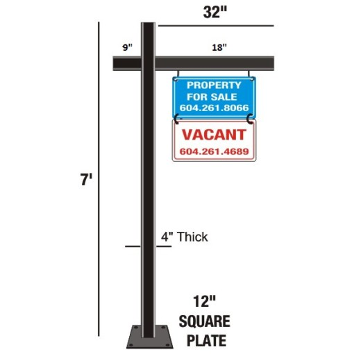 Wrought Iron Sign Holder Above Ground Mounting 02