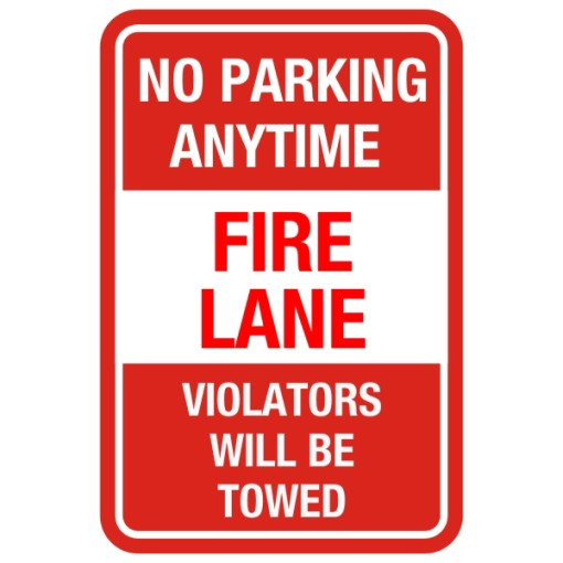 No Parking Anytime Fire Lane