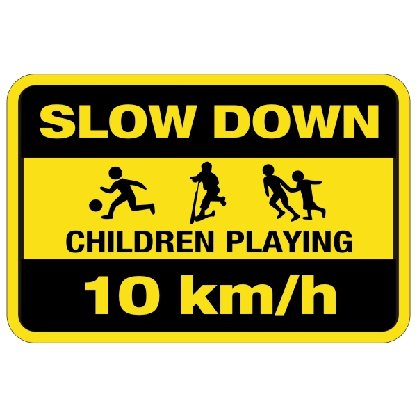 Slow Down Children Playing Sign 10 km/h 12″ x 18″ – BC ...