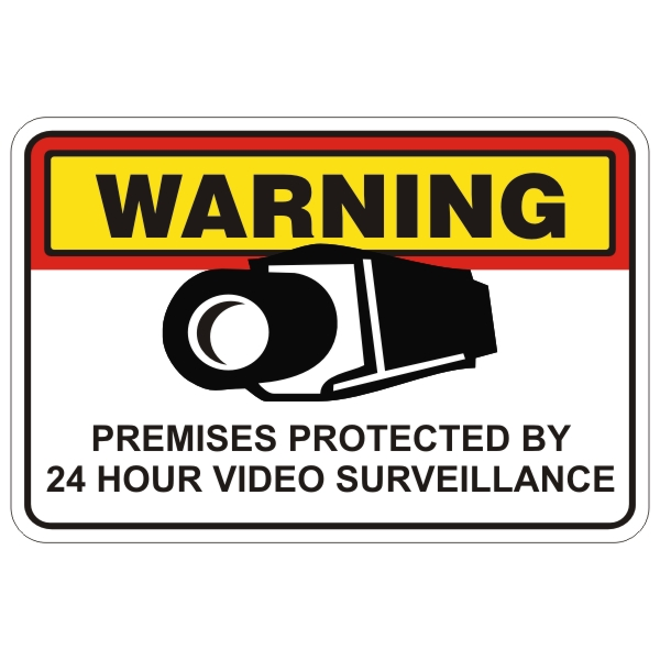 """Premises Protected By 24 Hour Video Surveillance"""" 12″ x 18″ sign ..."""