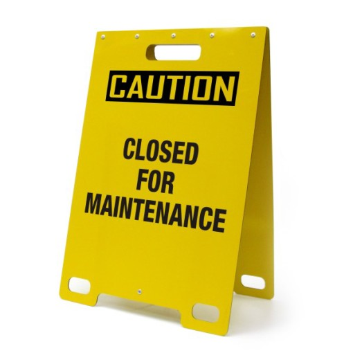 Caution Closed For Maintenance Yellow