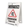 Caution Danger Thin Ice White