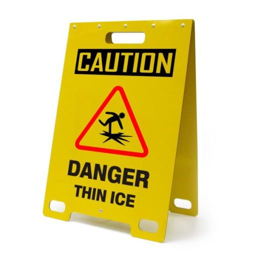 Caution Danger Thin Ice Yellow