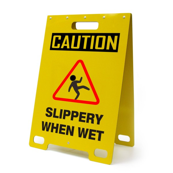 Caution Slippery When Wet Portable A Frame Sign Bc