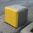 Concrete Square Block Painted in Yellow and Bare Concrete
