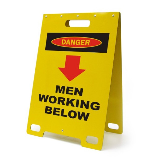 Danger Men Working Below Yellow