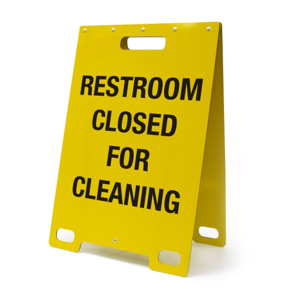 Restroom Closed For Cleaning Yellow. Restroom Closed For Cleaning  Portable A Frame Sign   BC Site Service
