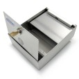 Square Wall Mounted Stainless Steel Ashtray With Lid Open Top View