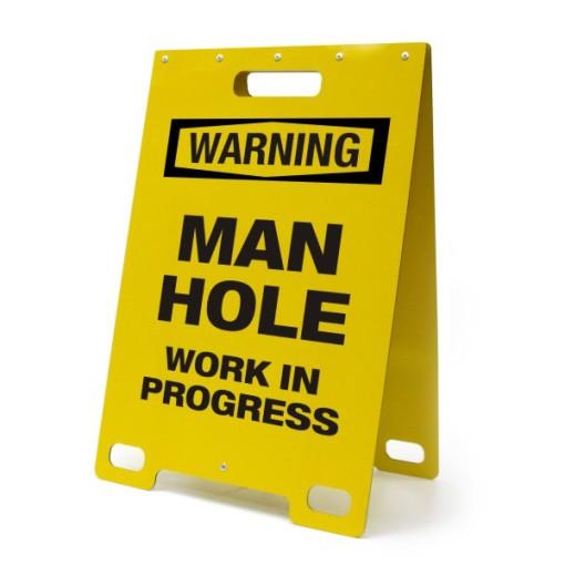 Warning Man Hole Work  In Progress Yellow