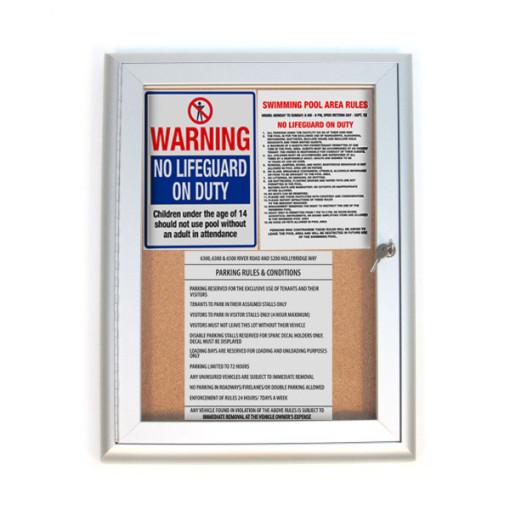 Indoor Locking Bulletin Board Cabinets With Notice