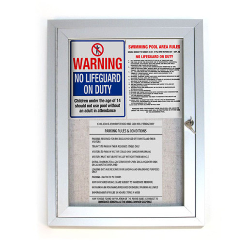 Outdoor Locking Bulletin Board Cabinets Front With Notices
