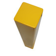 Square Yellow Flat Paint Metal Bollard Top View – Copy