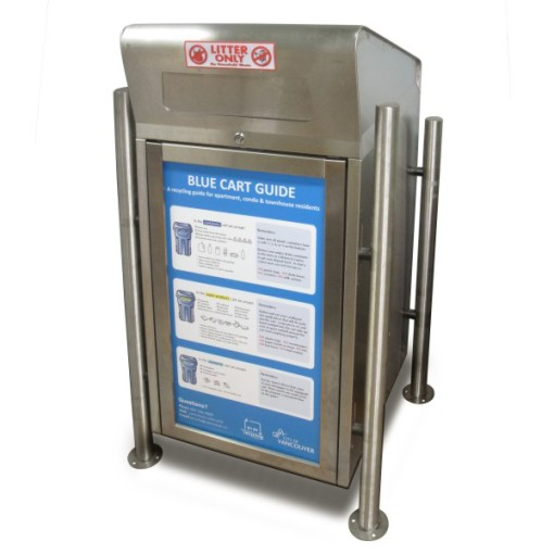 Stainless Steel Garbage and Recycling Receptacle – 1 Slot