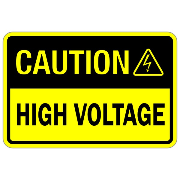 Caution High Voltage Yellow And Black 12 X 18 Safety