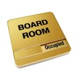 Occupied Brushed Gold Board Room Sign With Round Corners