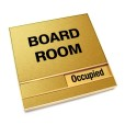 Occupied Brushed Gold Board Room Sign With Squared Corners