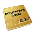 Occupied Brushed Gold Conference Room Sign With Round Corners