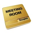 Occupied Brushed Gold Meeting Room Sign With Round Corners