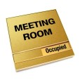 Occupied Brushed Gold Meeting Room Sign With Squared Corners