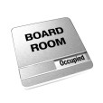 Occupied Brushed Silver Board Room Sign With Round Corners