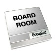 Occupied Brushed Silver Board Room Sign With Squared Corners