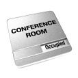 Occupied Brushed Silver Conference Room Sign With Round Corners