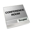 Occupied Brushed Silver Conference Room Sign With Squared Corners