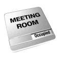Occupied Brushed Silver Meeting Room Sign With Round Corners