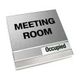 Occupied Brushed Silver Meeting Room Sign With Squared Corners
