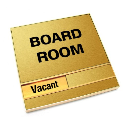 Vacant Brushed Gold Board Room Sign With Squared Corners