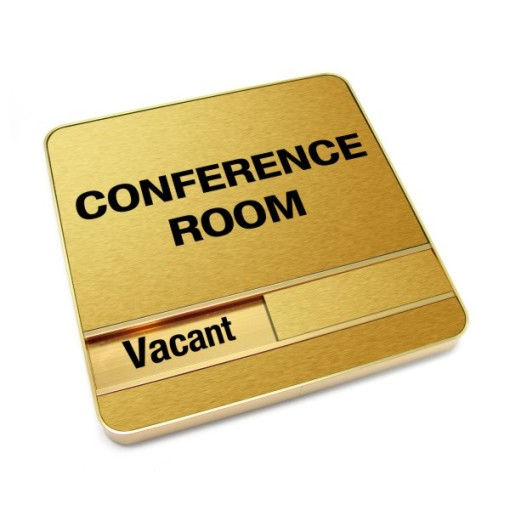 Vacant Brushed Gold Conference Room Sign With Round Corners