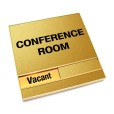 Vacant Brushed Gold Conference Room Sign With Squared Corners