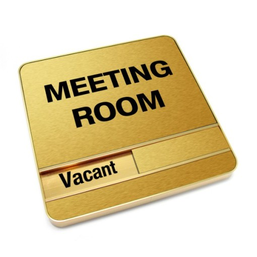 Vacant Brushed Gold Meeting Room Sign With Round Corners