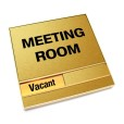 Vacant Brushed Gold Meeting Room Sign With Squared Corners