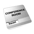Vacant Brushed Silver Conference Room Sign With Round Corners