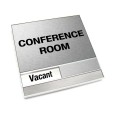 Vacant Brushed Silver Conference Room Sign With Squared Corners