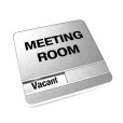 Vacant Brushed Silver Meeting Room Sign With Round Corners