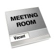 Vacant Brushed Silver Meeting Room Sign With Squared Corners