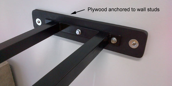 Mounting Bike Rack with Plywood to Wall Studs