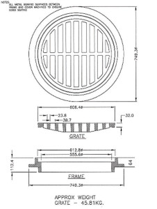 24″ Catch Basin Grate Layout Drawing