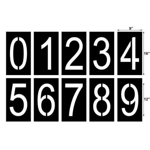 12 tall number stencils