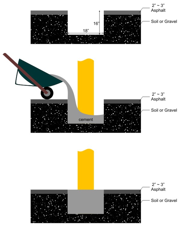 Install bollard in asphalt