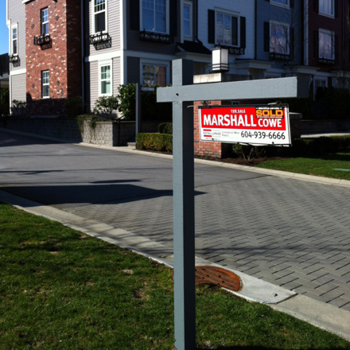 Wood-Realtor-Sign-Holder-In-Ground-installed