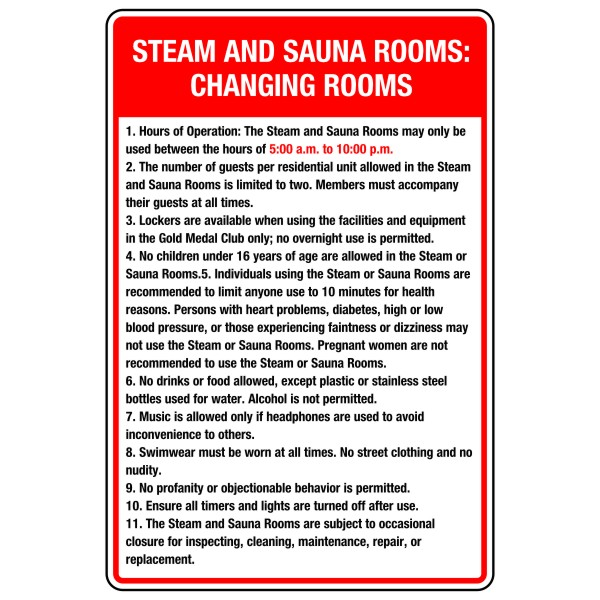Steam and sauna rooms changing sign bc site