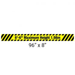 Heavy Duty Aluminum Bar with Maximum Height Sign 96″ x 8″