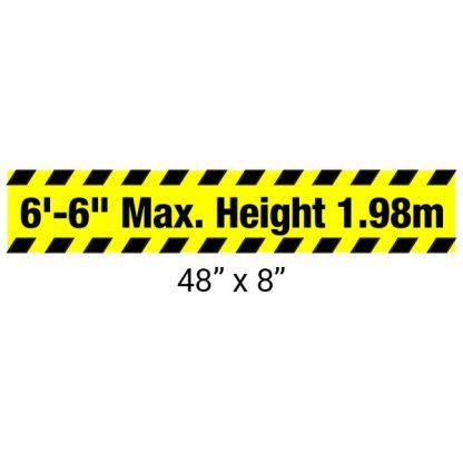 "Heavy Duty Aluminum Bar with ""Maximum Height"" Sign 48"" x 8"""
